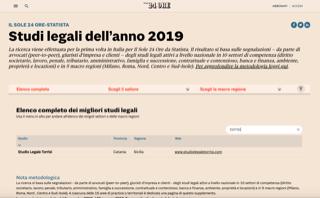 Lo Studio Legale Torrisi tra i migliori Studi Legali d'Italia del 2019 per il Sole 24 Ore